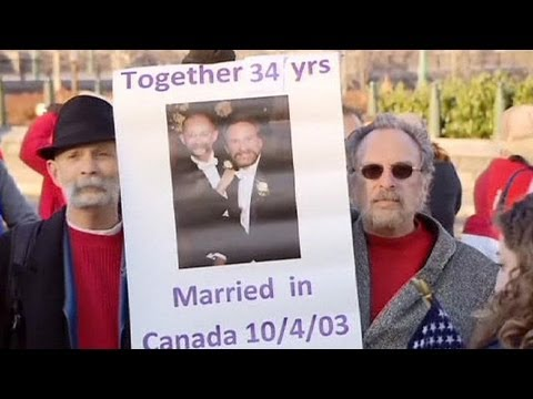 Pro and anti-gay marriage protests in Washington - no comment