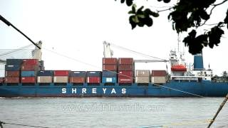 Loaded container ship moving towards Arabian sea