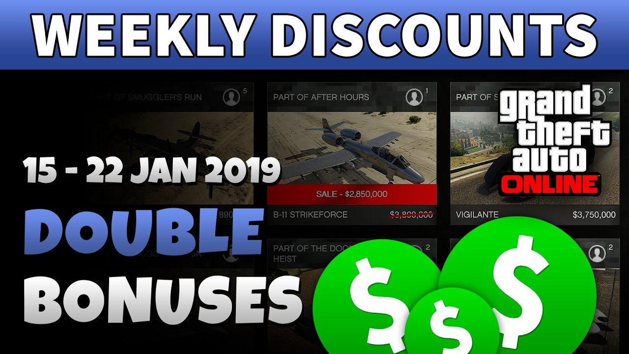 GTA 5 Weekly Discount | GTA ONLINE BONUSES THIS WEEK (15 - 22 Jan 2019)