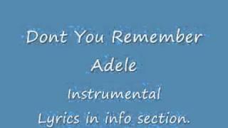 dont you remember instrumental Adele