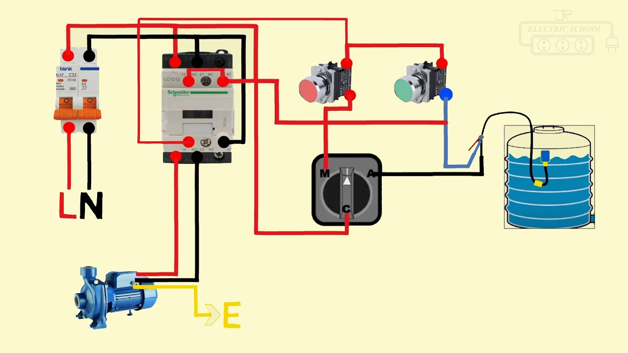 float switch connection auto & manual single phase water pump