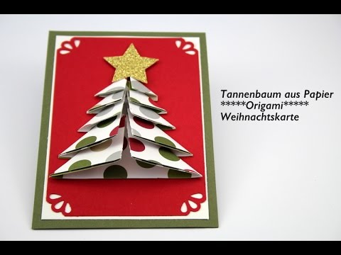 weihnachtsbasteln tannenbaum aus papier origami diy. Black Bedroom Furniture Sets. Home Design Ideas
