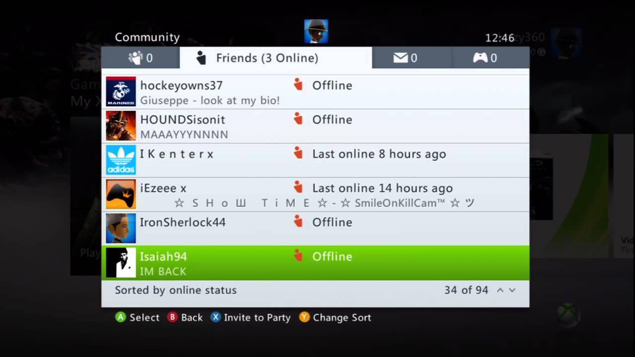 My Xbox 360 Friends List - YouTube