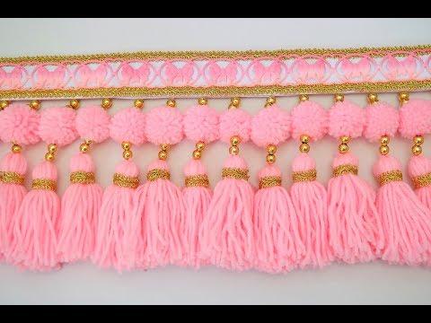 DIY Woolen Toran Out Of  Wool. Home Decor Idea. Woolen Door Hanging Toran Making At Home.