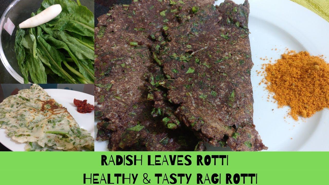 Healthy & tasty radish leaves rotti - Ragi rotti recipe - Nachni roti - Nachni recipe - Roti recipe