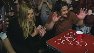 Eliza Taylor and Bob Morley play Beer Pong at Conageddon 2