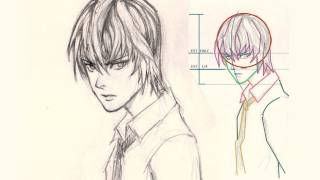 How to draw face Light Yagami from Death Note