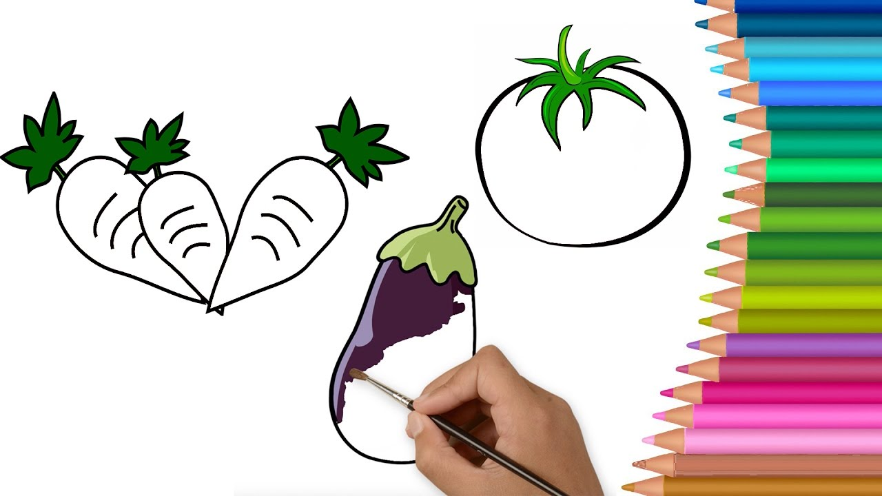 colours for kids vegetables coloring pages l how to color drawing