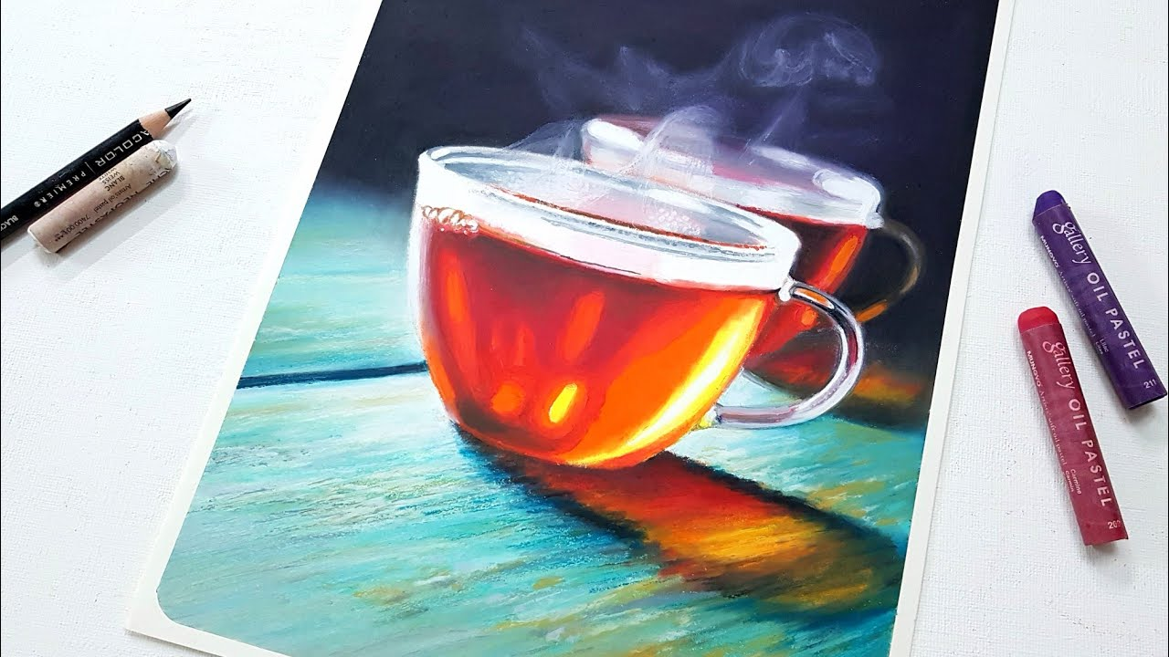 Drawing Still life Hot Tea / Oil pastel drawing / Swanee art 오일파스텔로 따뜻한 홍차 그리기
