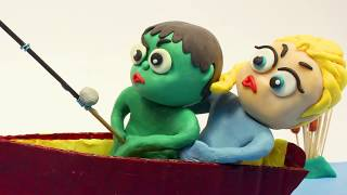 Fishing fun time 💕 Superhero Play Doh Stop motion cartoons