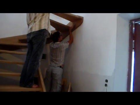 Установка деревянной лестницы с поворотом на 180 градусов