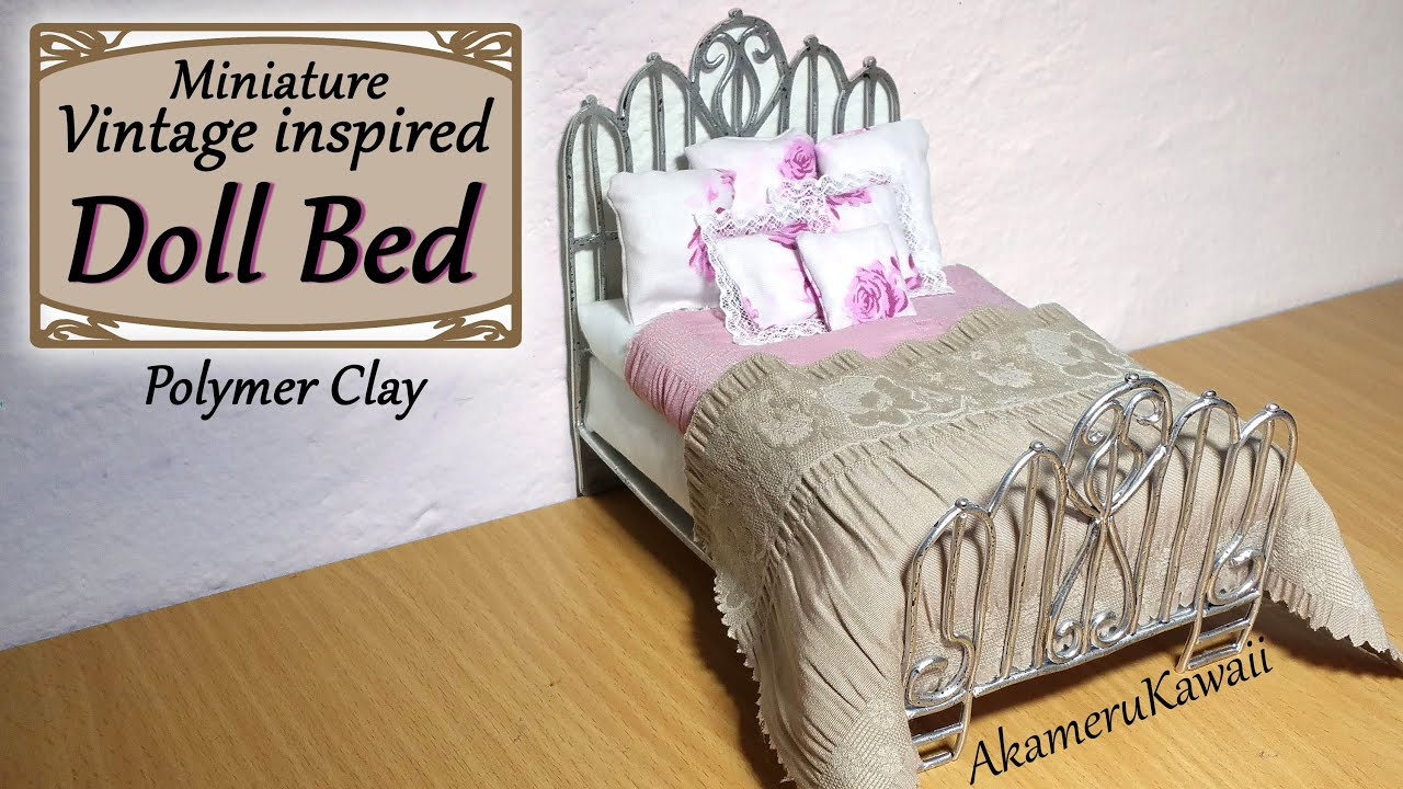 miniature doll bed - polymer clay/fabric tutorial - youtube