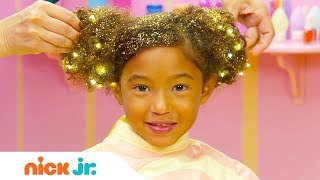 كيفية إنشاء الشعر الكعك w/ البريق ✨ نمط الملفات الشعر التعليمي | يوم مشمس | نيك الابن.