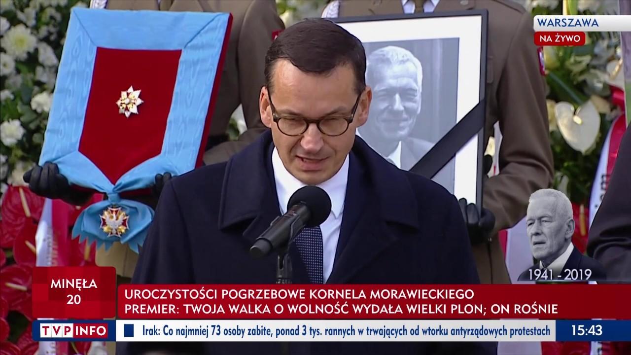 Premier Mateusz Morawiecki żegna Kornela Morawieckiego