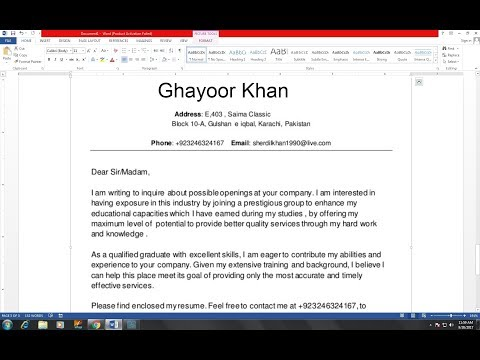 HOW TO WRITE A COVER LETTER FOR RESUME  || MS Word in Hindi ||