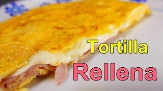 receta TORTILLA FRANCESA RELLENA DE JAMON Y QUESO - recetas de cocina faciles rapidas y economicas