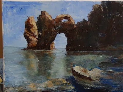 Painting Seascape with submerged rocks in oil with palette knife.
