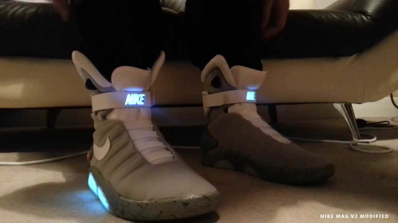 Nike Mag V2 Conversion On Feet - Accurate Modified Version - Mcfly Air Mag  2015 - YouTube e5c94209430e
