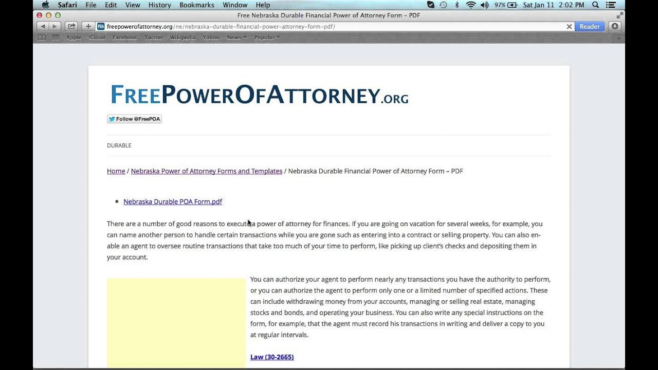 How to Write a Nebraska Power of Attorney Form - YouTube