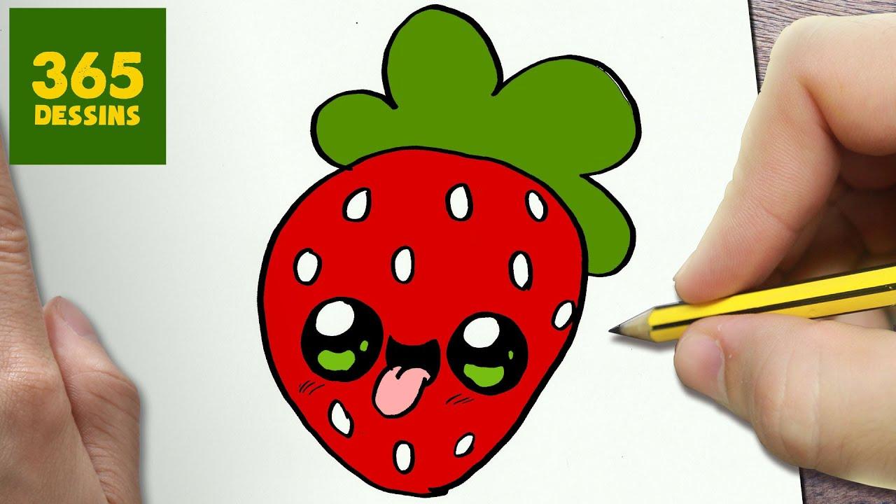 Comment dessiner fraise kawaii tape par tape dessins - Dessiner un fruit ...