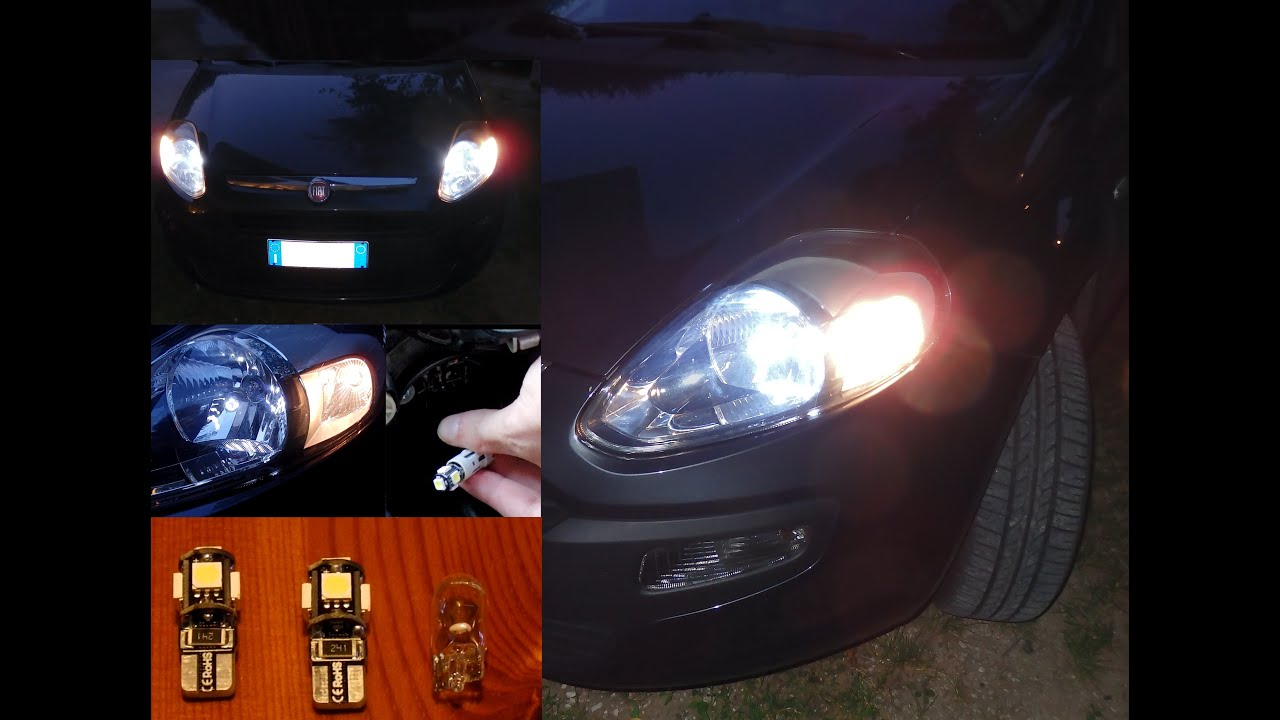 Fiat punto evo luci posizione led bianche t w w canbus youtube