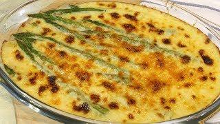 Espárragos gratinados con salsa de queso y mostaza en Thermomix