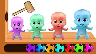 Learn color with Crying Baby Boss Baby Wooden face hammer - Learn color with Soccer Ball