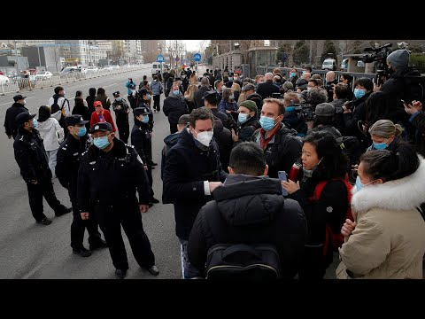 Reps from 26 countries show support for Michael Kovrig outside a Beijing court