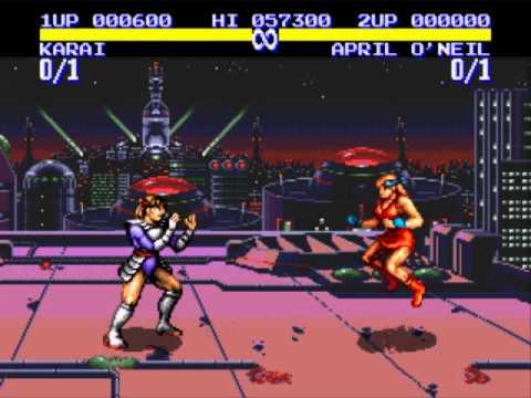 Turtles Tournament Fighters [Genesis] - play as Karai (demonstration)