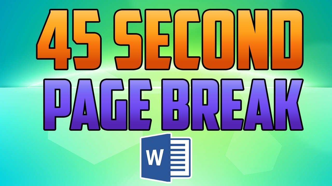 Word 2016 : How To Insert And Remove A Page Break