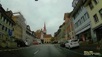 CH: Gemeinde Beromünster. Kanton Luzern. Fahrt durch den Ort. November 2019