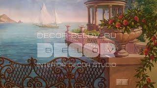 Художественная роспись стен. Фреска. Декор стен.(Эффектнее, шикарнее, чем фотообои - художественная роспись стен. Дизайн интерьера - художник А. Белов, сайт..., 2016-07-10T17:22:20.000Z)