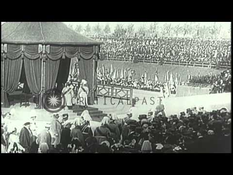 Kaiser William II, ruler of the German Empire dedicates a monument to the Battle ...HD Stock Footage