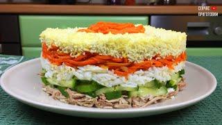 Салат с корейской морковкой, курицей и свежим огурцом в моей книге рецептов в первой десятке