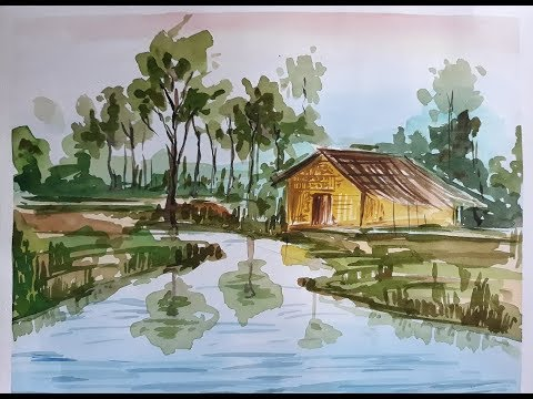 House Landscape Watercolour Painting | Easy Way