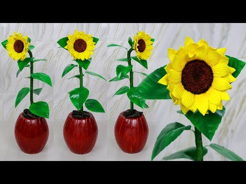 Sunflower tree Tutorial // Diy home decor creative idea with waste recycled materials