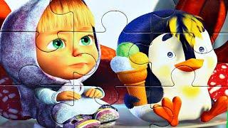 Маша и Медведь - Маша и Пингвиненок - собираем пазлы для детей с героями мультика маша и медведь