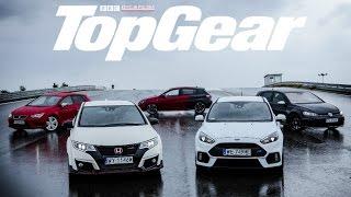 Ford Focus RS vs VW Golf R vs Honda Civic Type-R vs Seat Leon Cupra 290 vs Peugeot 308 GTI