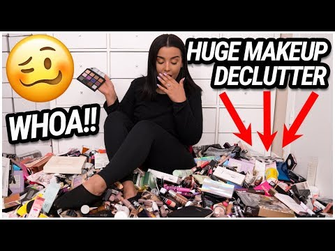 getting rid of HALF my MAKEUP COLLECTION!!! EXTREME MAKEUP DECLUTTER 2019! | MakeupByAmarie thumbnail