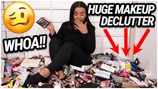 getting rid of HALF my MAKEUP COLLECTION!!! EXTREME MAKEUP DECLUTTER 2019! | MakeupByAmarie