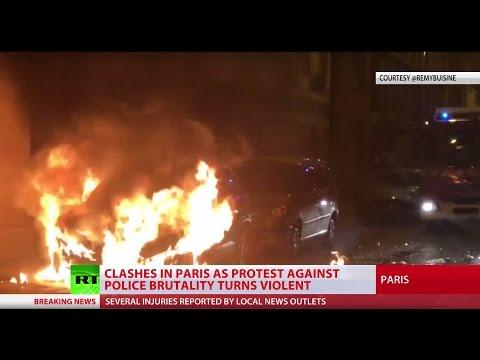 Anti-brutality protest & vigil for man killed by Paris cops turns violent