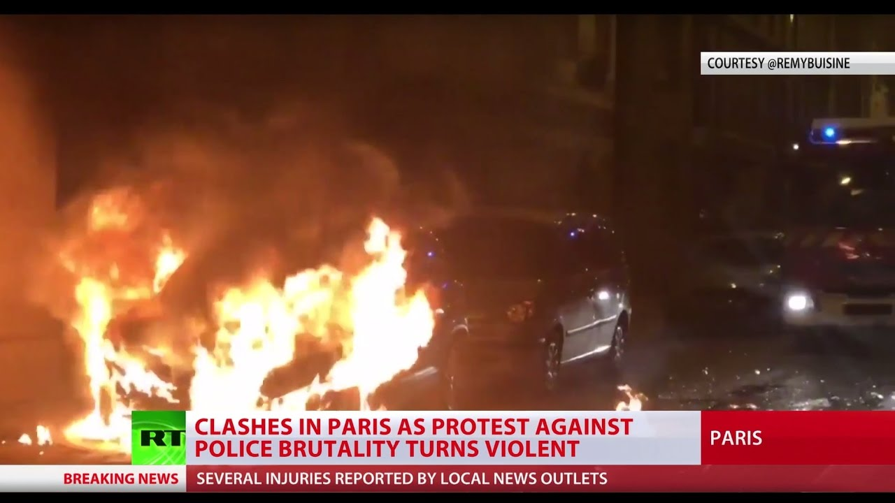 Anti-brutality protest & vigil for man killed by Paris cops turns violent