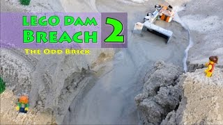 LEGO Dam Breach 2 - A Lego House and Bikers Flooded  - Full Video