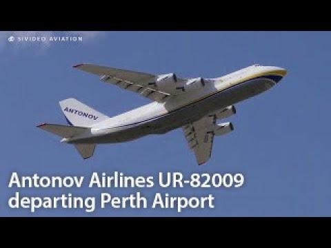 UKRAINE CARGO AIRCRAFT Antonov Airlines (UR-82009) departing Perth Airport.