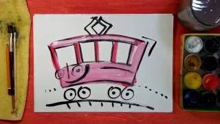 How to draw a pink tram