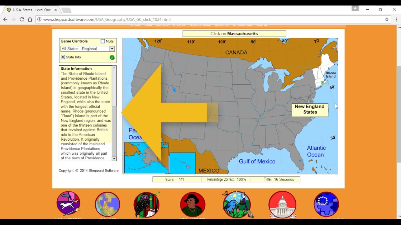 Sheppard Software USA YouTube - Sheppard software us map