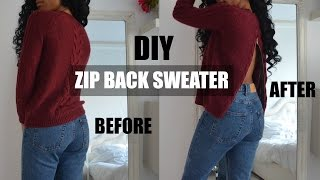DIY UPCYCLE | BOOHOO INSPIRED ZIP BACK SWEATER
