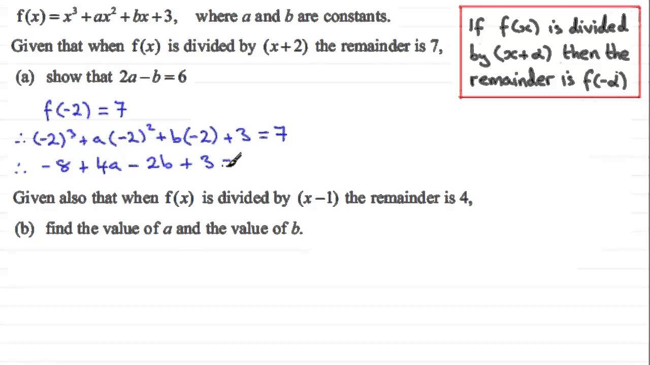 Worksheet Maths Remainder remainder theorem c2 edexcel january 2012 q5 examsolutions maths revision