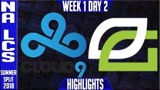 Video C9 vs OPT Highlights | NA LCS Summer 2018 Week 1 Day 2 | Cloud 9 vs Optic Gaming download MP3, 3GP, MP4, WEBM, AVI, FLV Agustus 2018