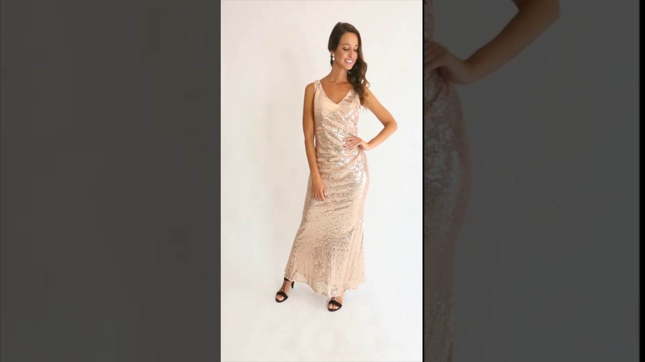 dd278f55a267 Sienna Sleeveless Sequins Mermaid Formal Dress in Rose Gold | Model Chic